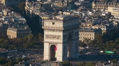 Aerial view over Paris - zoom shot on Arc de Triomphe Stock Footage