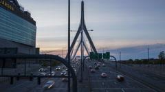 Boston Sunset on the Leonard P. Zakim Bunker Hill Bridge Stock Footage