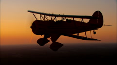 WACO Aircraft at Twilight Air To Air Sunset Stock Footage