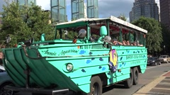 Quick tracking shot (4k) of a Boston Duck Tours tour bus in Boston, MA. Stock Footage