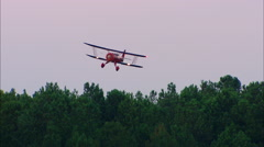 WACO Aircraft at Twilight Landing Stock Footage