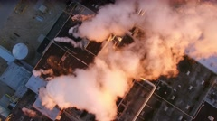 Aerial view of scenic industrial zone with smokestacks, early morning Stock Footage