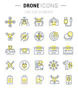 Set Vector Flat Line Icons Drones Piirros