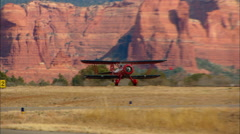 WACO Aircraft at Twilight Take Off Sedona Stock Footage