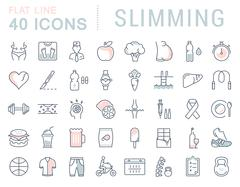 Set Vector Flat Line Icons Slimming Stock Illustration