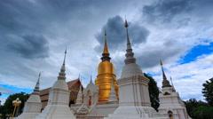 Wat Suan Dok Landmark Temple Of Chiang Mai, Thailand 4K Time Lapse (tilt down) Stock Footage
