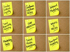 Photo collage of Business and Marketing notes written on yellow paper post-it Stock Photos