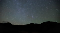 Time lapse of the Milky Way Galaxy stars moving above silhouetted mountains Stock Footage