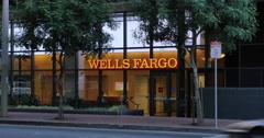 Wells Fargo Bank Branch Establishing Shot Stock Footage