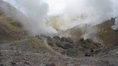 Crater of active volcano: thermal field, hot spring, fumarole (timelapse, 4K) Stock Footage
