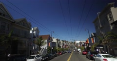 Driver's Perspective on Castro Street in San Francisco  	 Stock Footage
