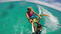 POV of a young woman kite surfing in Egypt on a sunny day, slow motion. Stock Footage
