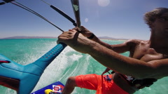 POV of a young man kite surfing in Egypt, slow motion. Stock Footage