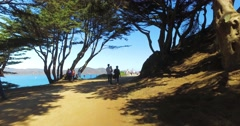 Tourists and Hikers on Land's End Coastal Trail in San Francisco  	 Stock Footage