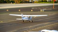 SANTA MONICA, CALIFORNIA USA - OCT 07, 2016: airplane takes off Stock Footage