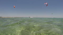 A young man kite boarding. Stock Footage