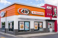 A&W and KFC Restaurant Exterior and  Logos. Stock Photos