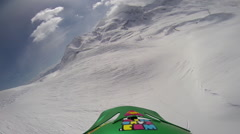 POV of a man snow kiting on a snow covered mountain. Stock Footage