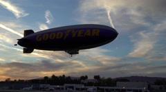 SANTA MONICA, CALIFORNIA USA - OCT 07, 2016: The Good Year blimp Zeppelin flies Stock Footage