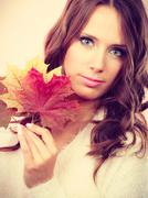 Pretty autumnal girl with maple leaves in hand Stock Photos