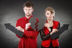 Unhappy couple thinking about divorce. Kuvituskuvat