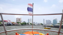 Timelpase video of traveling by riverboat through the Chao Phraya River, Bangkok Stock Footage