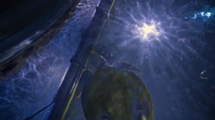 Sea Turtle Swims Around Aquarium Tunnel Above Camera Stock Footage