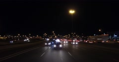 4K POV high speed driving on highway at night Stock Footage