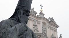 Cardinal Primate Stefan Wyszynski monument in warsaw, Poland Stock Footage