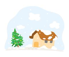 Snowy Christmas Day Stock Illustration