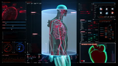 Scanning blood vessel in male body in digital display dashboard. X-ray view Stock Footage