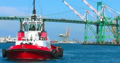 Pusher tug enters sea port of Los Angeles, 4K, RAW Stock Footage
