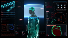Scanning Brain in male body in digital display dashboard. X-ray view Stock Footage