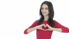 Handmade Heart Sign by Young Woman, White Background Stock Footage