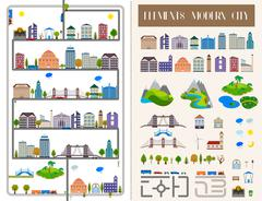 Elements of the modern city or village - stock vector. Stock Illustration
