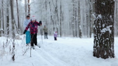 An adult mother and young daughter running on ski truck in snowy park. Winter Stock Footage