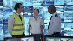 4K Portrait smiling security & surveillance team Stock Footage