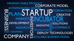 Startup, incubator word tag cloud - blue, English variant Stock Footage