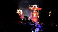 Mid close shot of firing Ravana in Dusshera in India. Stock Footage