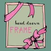 Hand drawn frame. Pink bow and ribbon border Stock Illustration