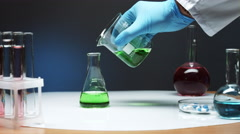 Pour green liquid in conical flask Stock Footage