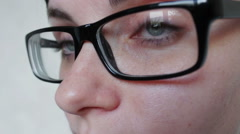 Close-up shot of woman eyes in glasses Stock Footage