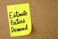 Estimate Future Demand text written on yellow paper note Stock Photos