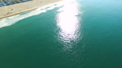 Aerial shot of of the beach and ocean. Stock Footage