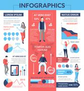 People Infographics - poster, brochure cover template Stock Illustration