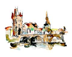 Watercolor freehand sketch drawing of Prague Czech Republic top Stock Illustration