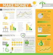 Make Money - poster, brochure cover template Stock Illustration