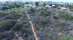 Aerial shot of a young man trail running on a scenic hiking trail. Stock Footage