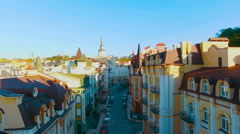 Aerial View of Buildings on Old European City Stock Footage