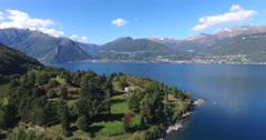 The Bay of Piona - Piona abbey - Como lake Stock Footage